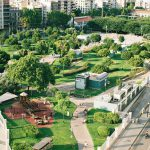 green city park with sports and cycling facilites
